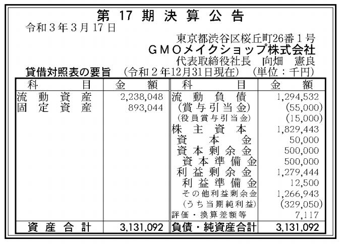 GMOメイクショップ株式会社 売上高