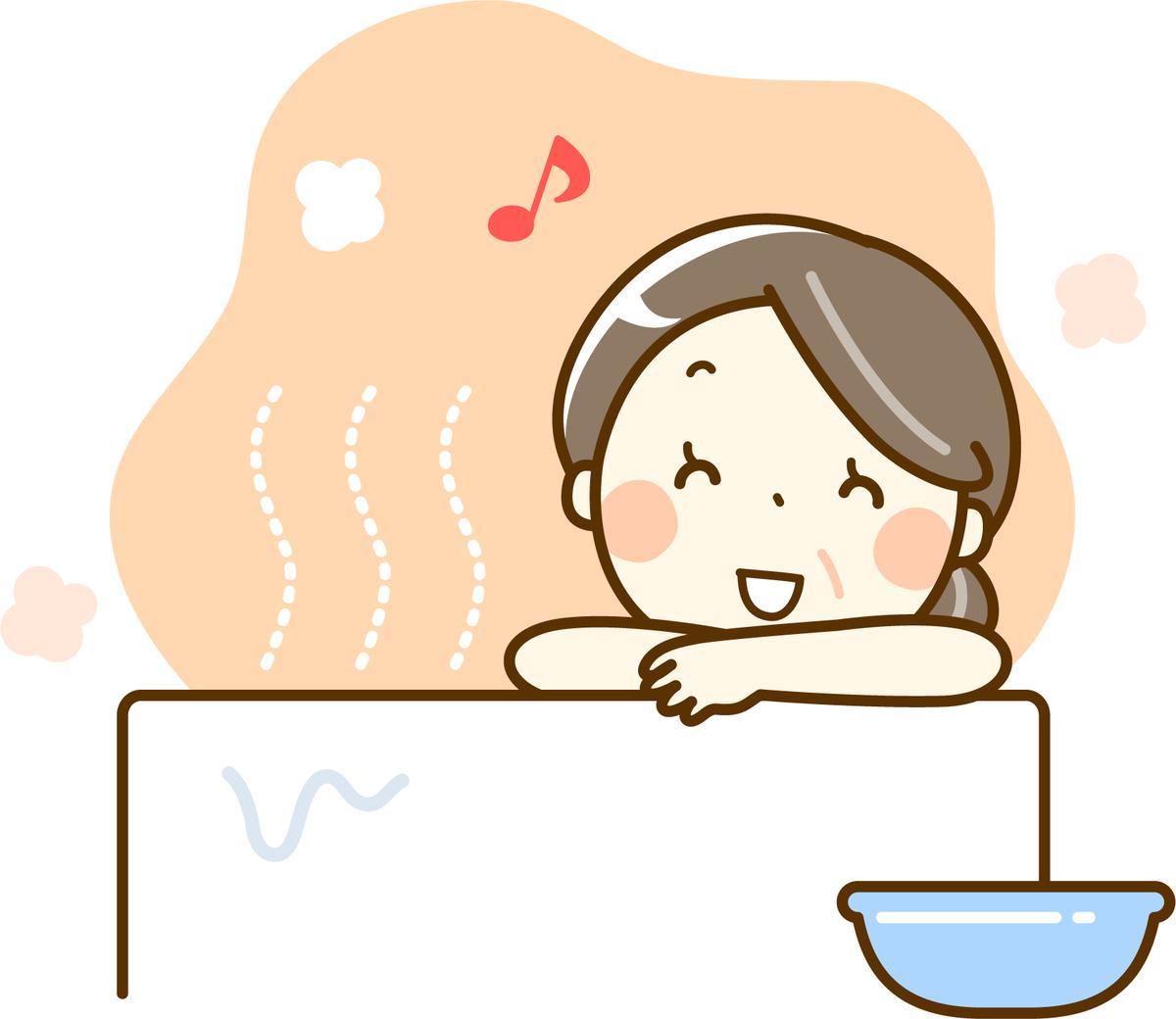 お風呂で温まる女性