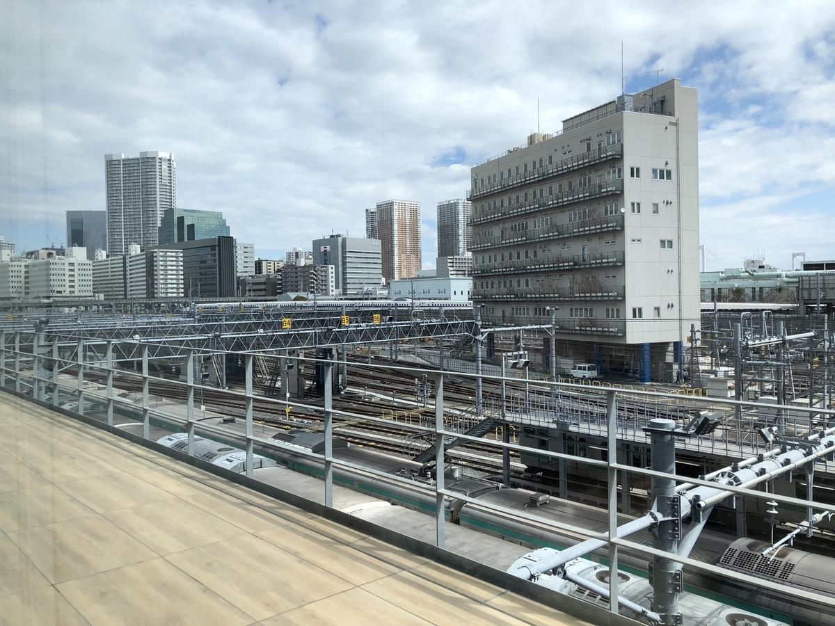 高輪ゲートウェイ駅から車庫が見える
