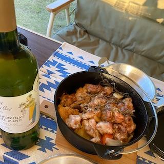 ダッチオーブンと白ワイン