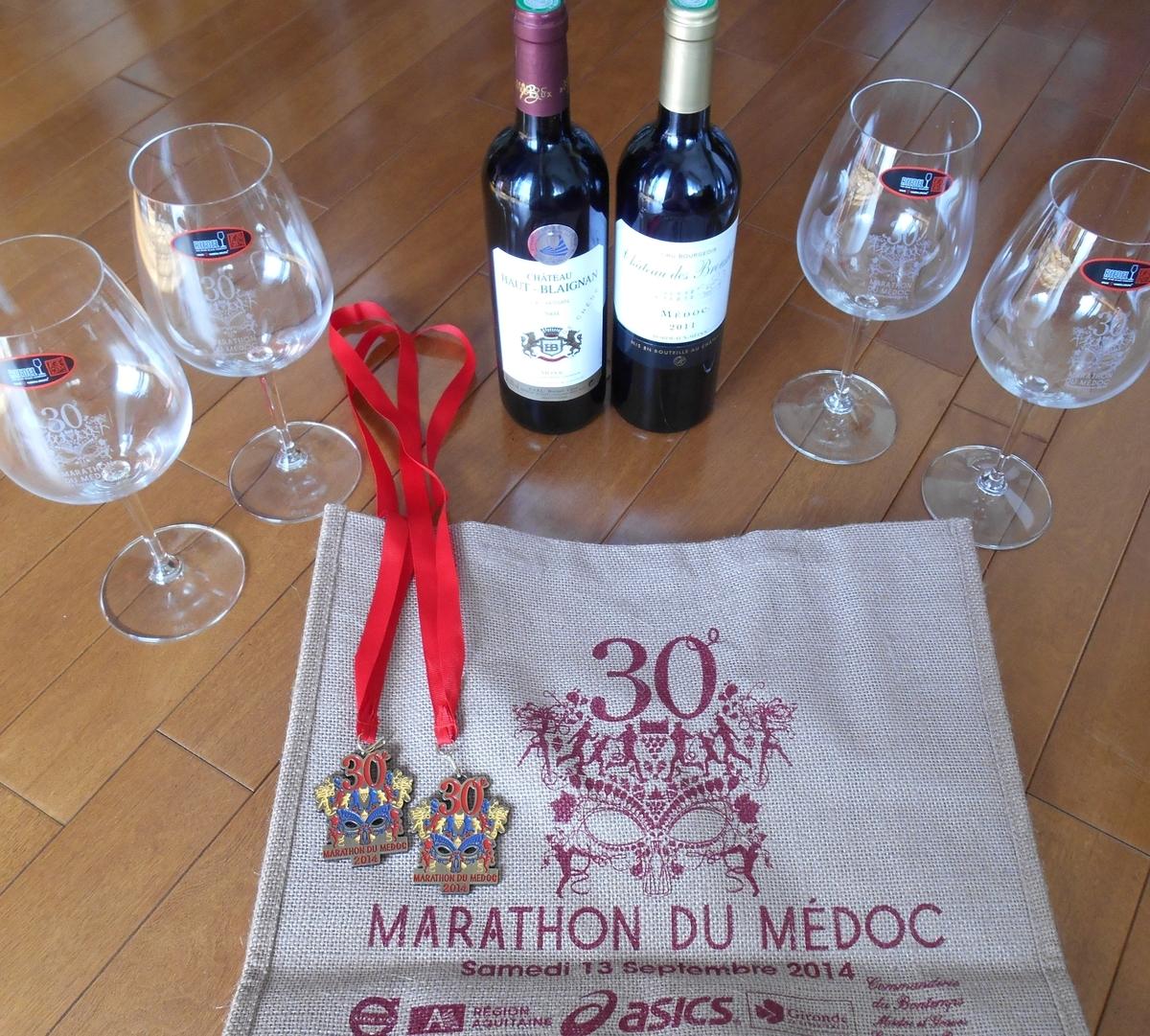 ワイン、メダル、30回記念の刻印付きリーデルのボルドーグラス、バッグ