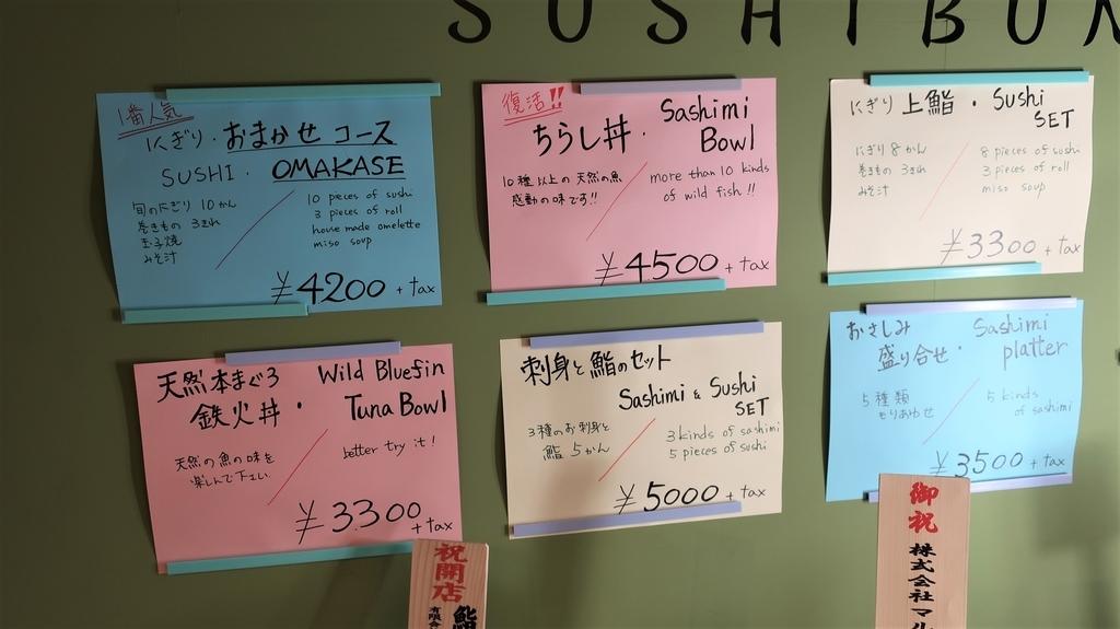 豊洲市場 鮨文のメニュー