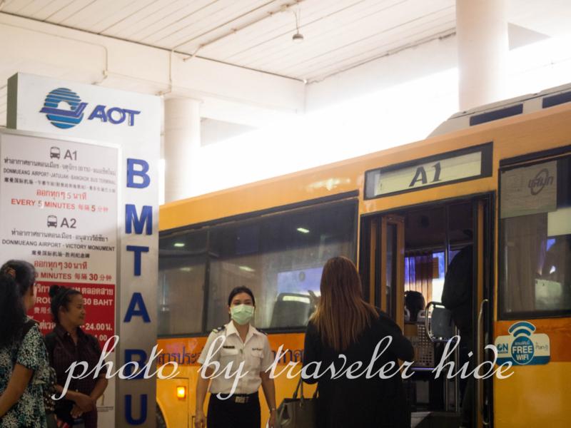 ドンムアン空港のエアポートバス乗降車場