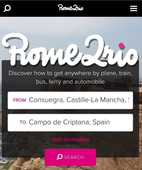 Rome2rioホーム画面。コンスエグラ(Consuegra)からカンポ・デ・クリプターナ(Campo de Criptana)を検索