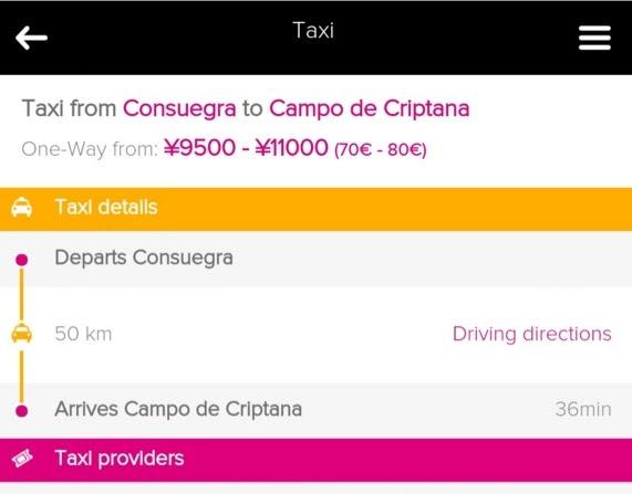 Rome2rioでコンスエグラ(Consuegra)からカンポ・デ・クリプターナ(Campo de Criptana)を検索した結果からタクシーを選択