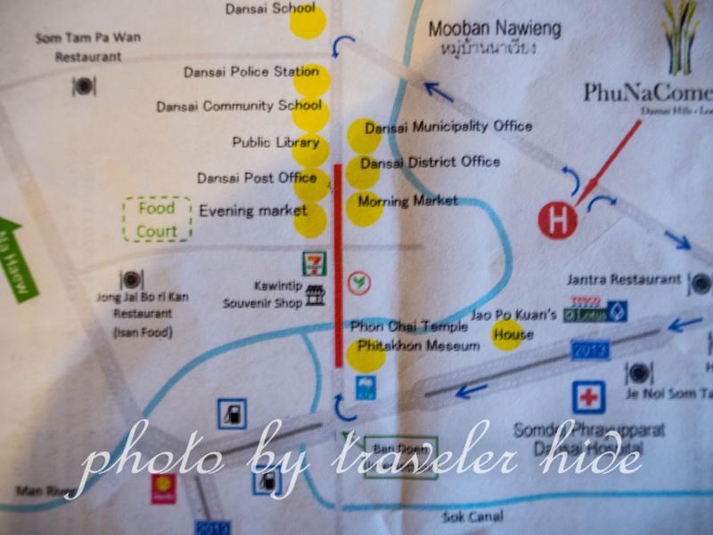 プーナーカムリゾート(PhuNaCome Resort)でもらえるダーンサーイ中心部の地図