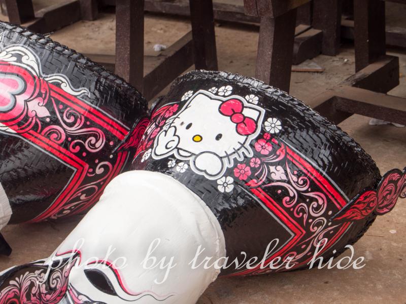ピーターコーン祭り(Phi Ta Khon Festival)で使用されたキティちゃんが描かれた仮面