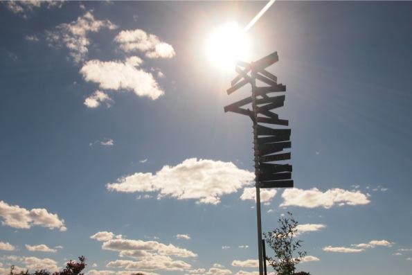 世界各国の都市の方向が書かれている標識