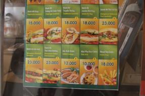 サンドイッチファストフード店のメニュー