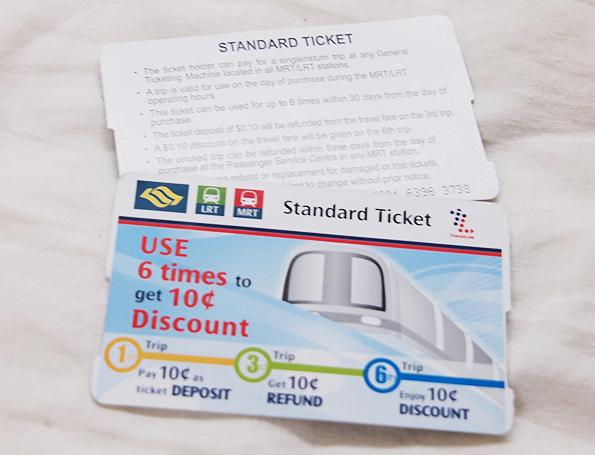 シンガポールの電車のチケット