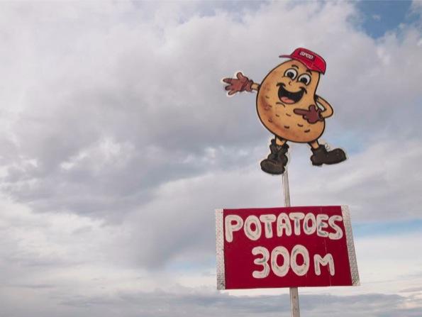 ポテトまであと300mだよー、な看板