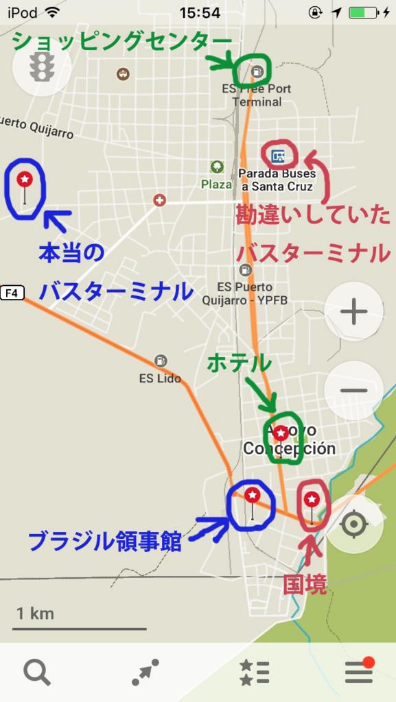 プエルトキハロのバスターミナルとブラジル領事館の場所・地図
