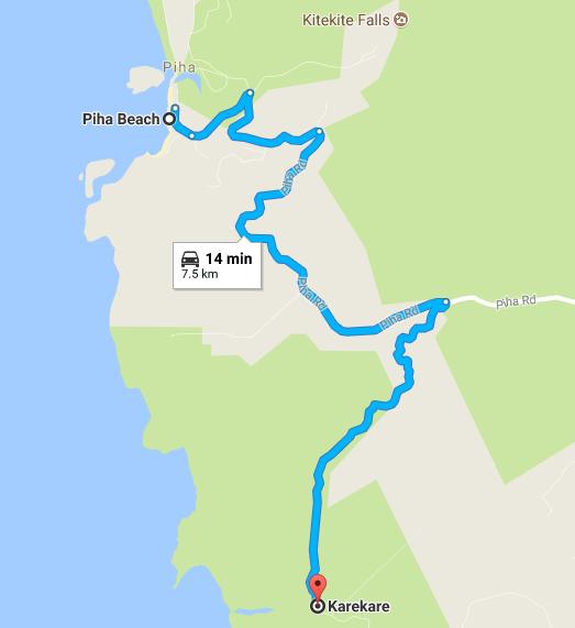 ピハ・ビーチ(Piha Beach)とカレカレ・ビーチ(Karekare Beach)の距離