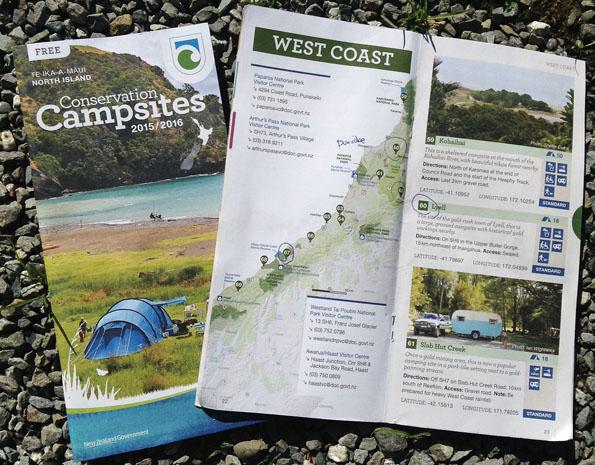 ニュージーランド環境保全省のキャンプサイトマップ