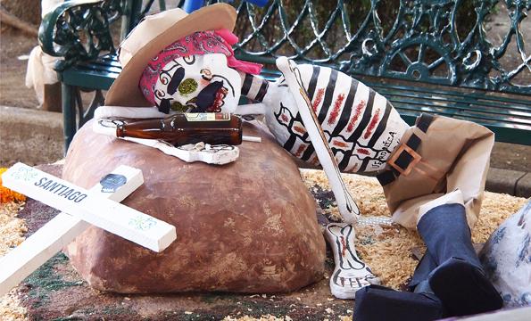 メキシコシティの可愛い死者の日のデコレーション(酔っ払い・泥酔)