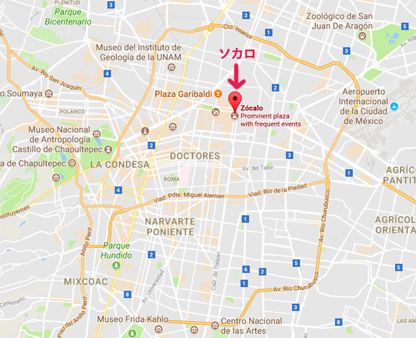 メキシコシティ・ソカロの場所・地図