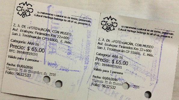 メキシコのテオティワカンの入場チケット