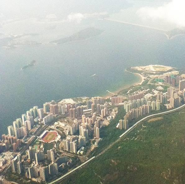 飛行機から見た香港の風景