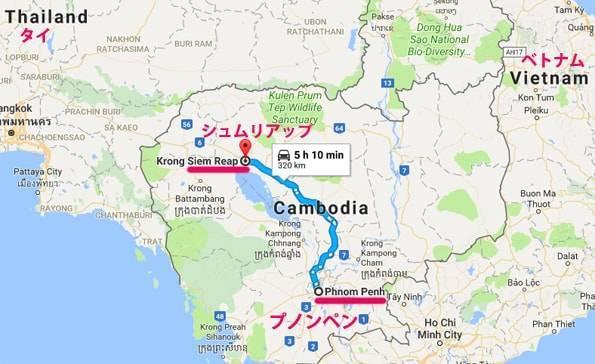 カンボジアのプノンペンとシュリアップ・ベトナムの地図
