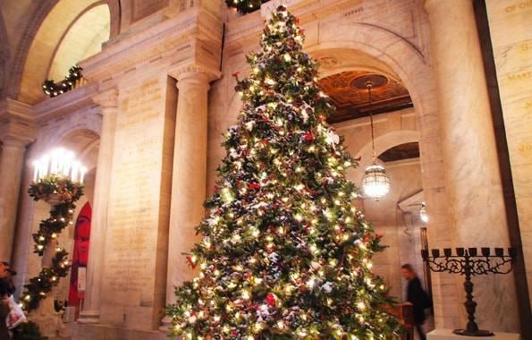 ニューヨーク公共図書館(New York Public Library)の中のクリスマスツリー