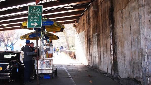 ブルックリンブリッジに行けるブルックリン側の階段のあたりの看板