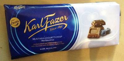 ファッツェル(Fazer)・ブルーベリーヨーグルトクリスプス ミルクチョコレート