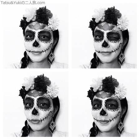 メキシコシティで死者の日にしたフェイスペインティング