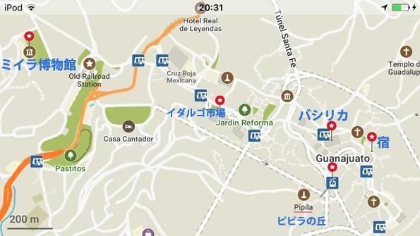 メキシコのグアナファトの地図