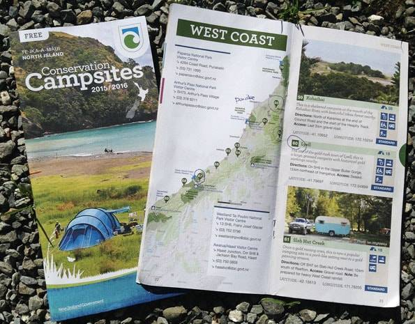 ニュージーランドのキャンプ場マップ