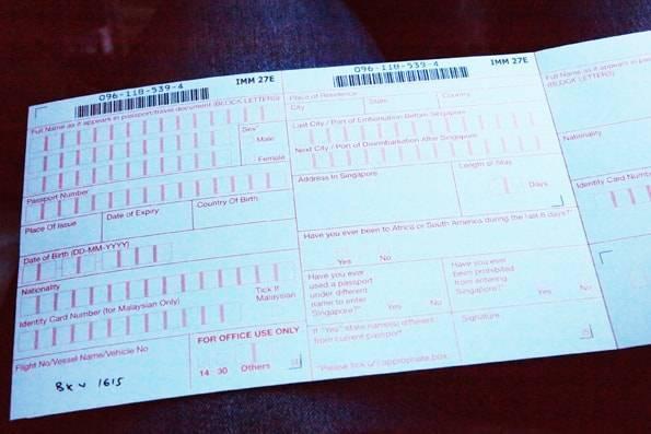 シンガポールの入国カード