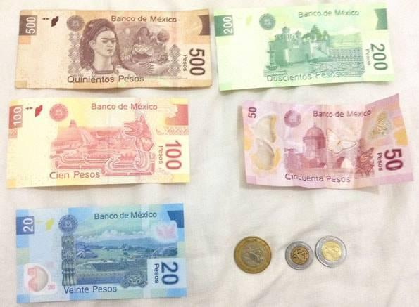 メキシコペソの紙幣とコイン