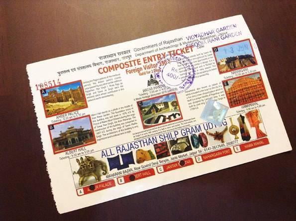 「ジャンタルマンタル・風の宮殿・アンベール城・ナルガール要塞・中央博物館(アルバートホール)」の5箇所の共通チケット