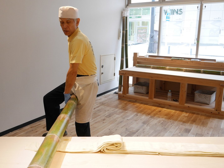新横浜ラーメン博物館 青竹打ち 麺作り体験