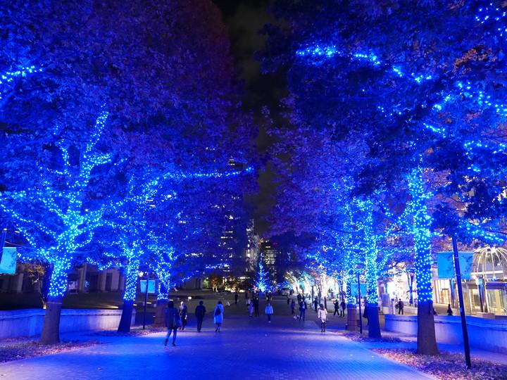 ヨコハマミライト ~みらいを照らす、光のまち~ グランモール公園周辺はブルーのイルミネーションに包まれています