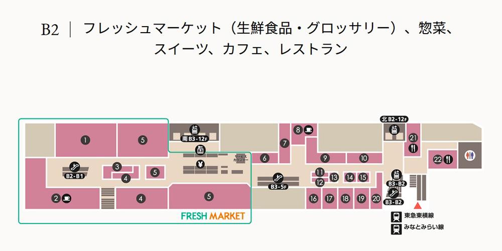 シァル横浜 地下2階フロア図(公式サイトより)