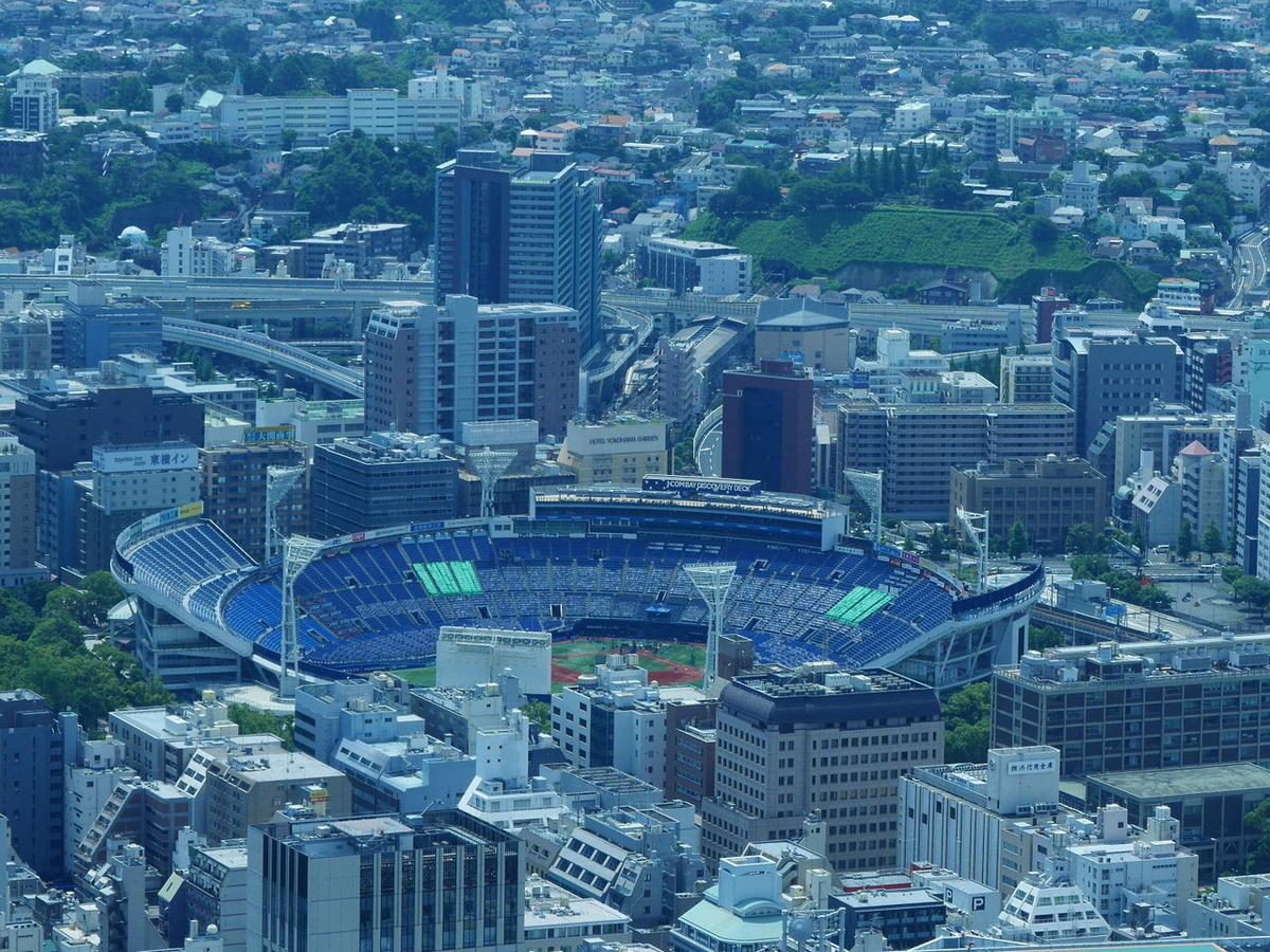 ウイング席が増設された横浜スタジアムも見えました!(2020年6月20日撮影)