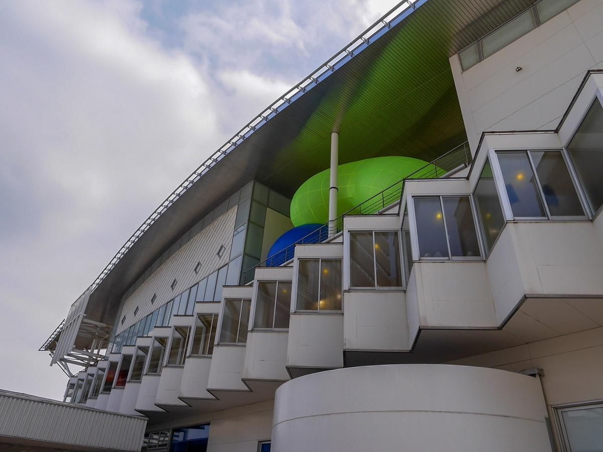 ヨコハマトリエンナーレ2020展示風景より さとうりさ《双つの樹(黄、青)》2020