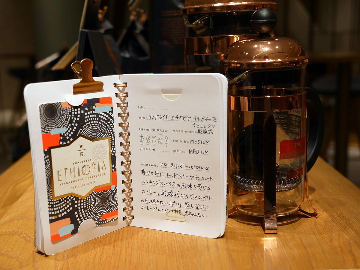 スターバックスリザーブの豆を選ぶと、カード(左ページ)がもらえるのもうれしい!コレクションする楽しみも