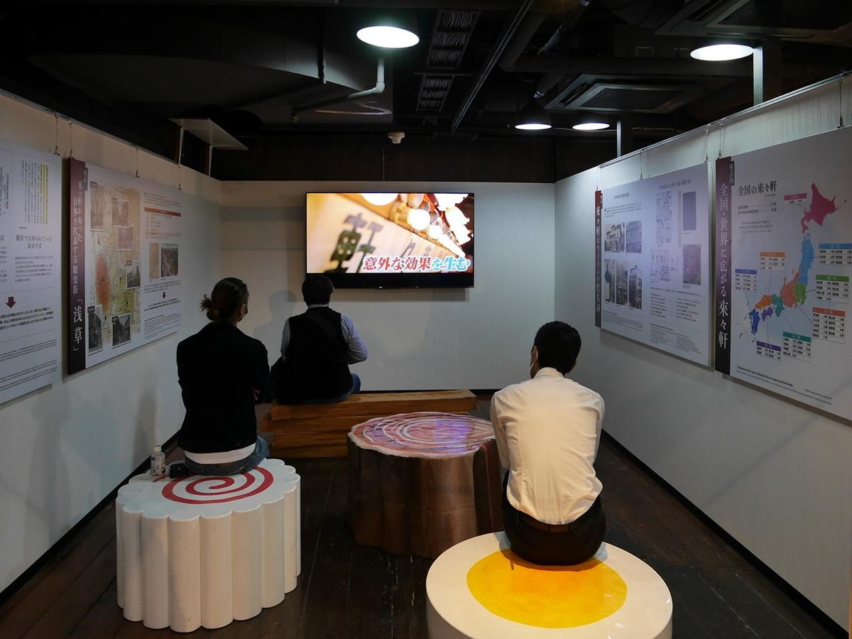 貴重な映像とデータで「浅草 来々軒」の歴史を振り返るコーナー