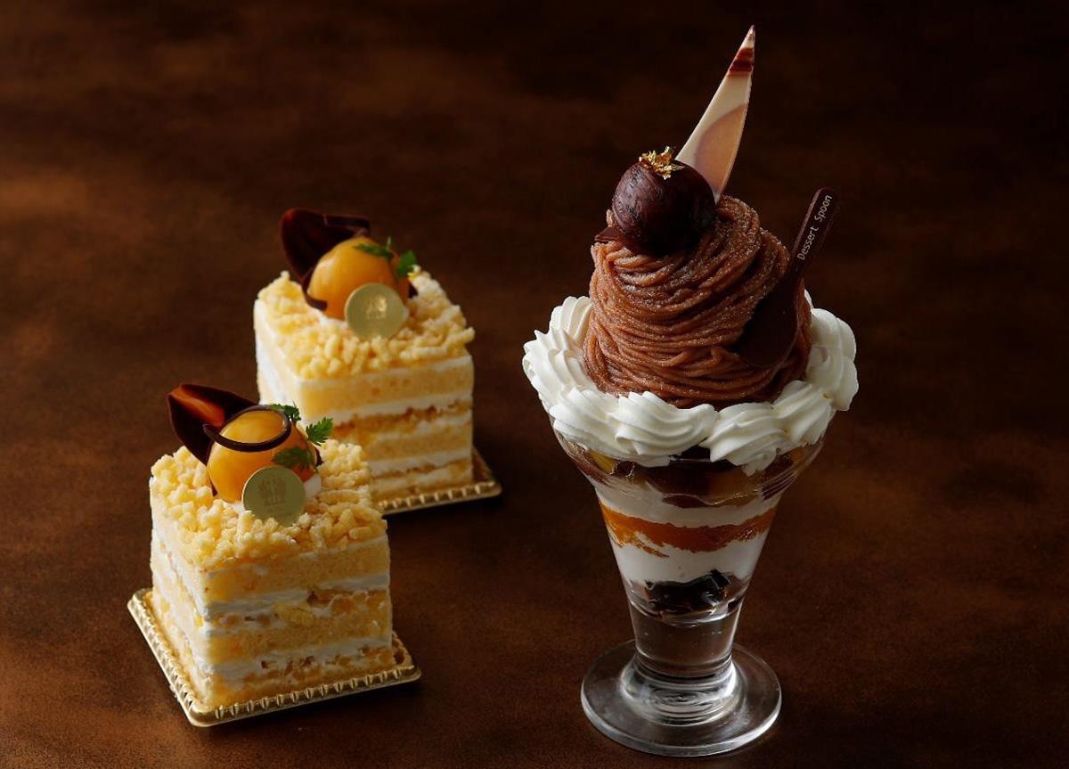 和栗のショートケーキ、モンブランパフェ(画像提供:ホテルニューグランド)