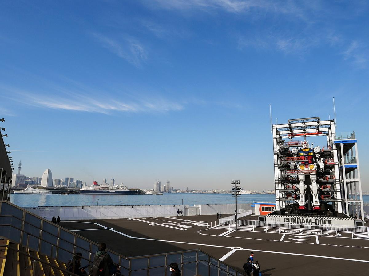 GUNDAM Cafe YOKOHAMA Satellite(ガンダム カフェ ヨコハマ サテライト)」テラス席からの眺め