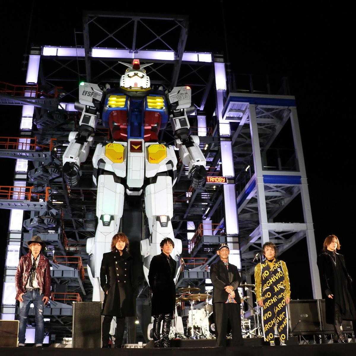 ガンダム ファクトリーヨコハマ オープニングセレモニーに登壇した富野総監督とLUNA SEA(2020年12月18日撮影)
