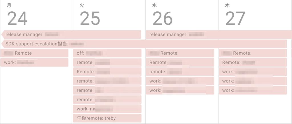 Googleカレンダー上のスケジュール
