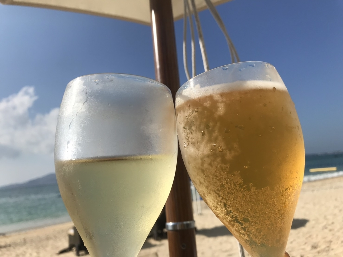 白ワイン&オリオンビール in ザ・リッツ・カールトン沖縄