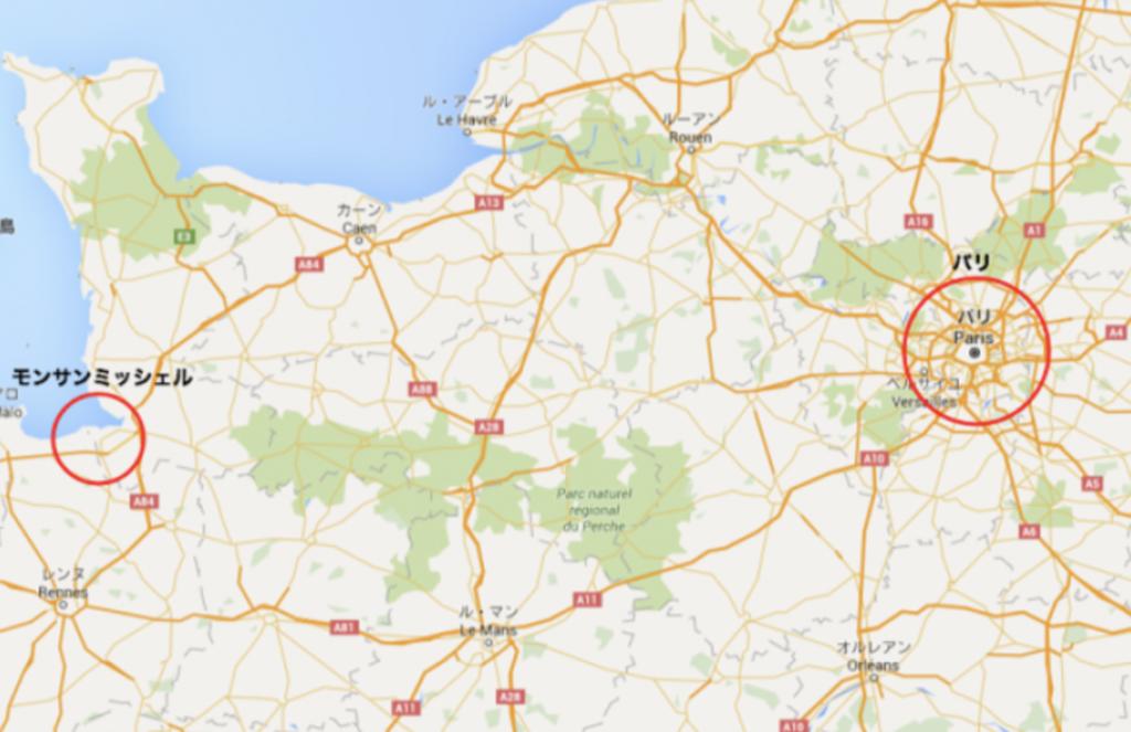 パリとモン・サン・ミッシェルの地図