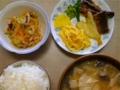 [ごはん]うな玉、中華クラゲ和え、ワンタンスープ