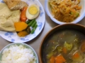 [ごはん]高野豆腐はさみ煮、タコキムチ和え、野菜スープ