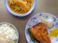 [ごはん]まぐろの竜田揚げ、高野豆腐とじゃが芋の味噌炒め