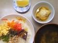 [ごはん]三色丼、揚げ出し豆腐スープ仕立て、胡瓜一夜漬、ワカメスープ、グレ