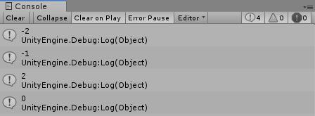 Console ウィンドウに整数値が出力されている画像